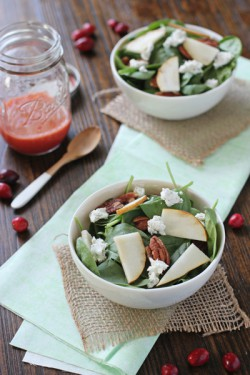 Spinach Salad with Pecans Goat Cheese Pears Recipe