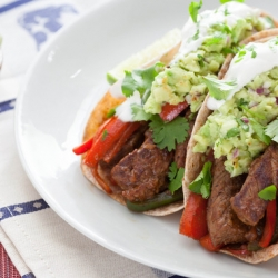 Steak Fajitas with Guacamole and Whole Wheat Tortillas Recipe