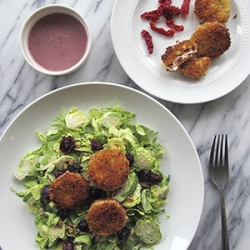 Sun Dried Tomato Goat Cheese Rounds with Brussels Sprout Salad Recipe