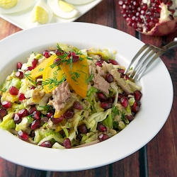 Tuna Salad with Roasted Golden Beets and Pomegranate Recipe
