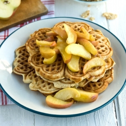 Waffles with Caramalized Apples