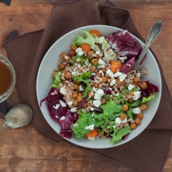 Warm Farro Salad with Chickpeas and Feta Recipe