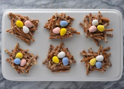 White Chocolate-Pretzel Nests