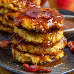 Apple Cheddar and Bacon Fritters with Caramel Sauce Recipe