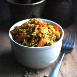 Arabic Lentil Raisin Pilaf