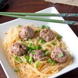 Asian Meatballs and Rice Noodles