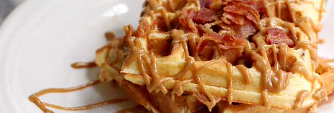 Bacon Waffles with Peanut Butter