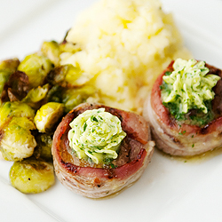 Bacon Wrapped Steaks with Garlic Herb Compound Butter Recipe