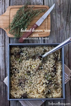 Baked Brown Rice with Mushrooms and Leeks Recipe