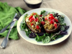 Baked Eggplant with Chickpeas and Quinoa Recipe