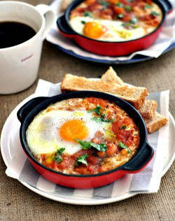 Baked Eggs with Spicy Beans