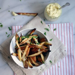 Baked Fries with Malt Vinegar Aioli Recipe