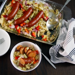 Baked Sausage Peppers and Onions Recipe