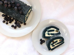 Blue Velvet Roll Cake with Cream Cheese Frosting Recipe