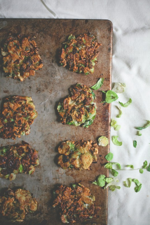 Brussels Sprout Latkes with Balsamic Dijon Sour Cream Recipe