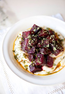 Celery Root Puree with Herbed Beets