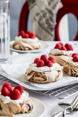 Chocolate Swirl Meringue Nests