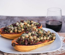 Delicata Squash with Sage Pesto Cranberries and Quinoa Recipe