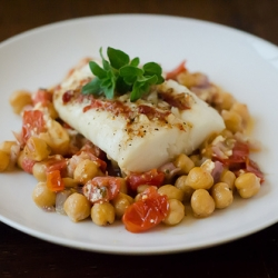 Foil-Baked Fish w/ Chickpeas