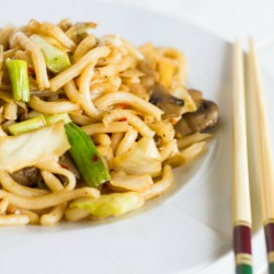 Fried Udon Noodles with Mushrooms