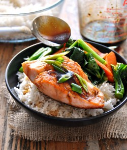 Gingered Sweet and Sour Glazed Salmon with Sauteed Carrots and Chinese Broccoli Recipe