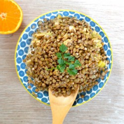 Green Lentils in a Orange Sauce