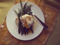Haricot Verts, Hominy, and Egg