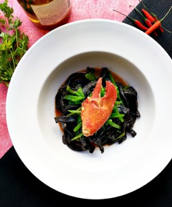 Homemade Squid Ink Pasta with Lobster and Sea Urchin Recipe
