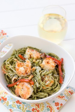Kale and Walnut Pesto Pasta with Lemon Shrimp Recipe