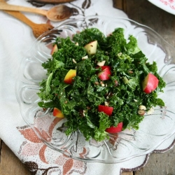 Kale Apple Salad with Tahini Cranberry Dressing Recipe
