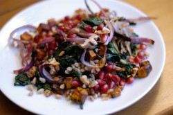 Kale Sweet Potato Farro and Pomegranate Salad Recipe