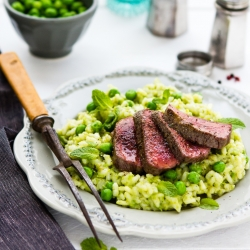 Lamb Loins and Mint Pea Risotto Recipe