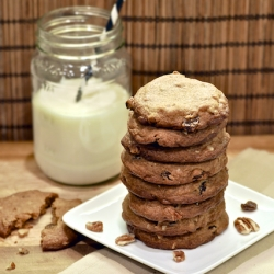 Malted Milk Pecan Raisin Cookies