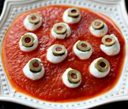 Mozzarella Eyeballs for Halloween
