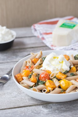 Pasta with Butternut Squash Greens and Ricotta Recipe