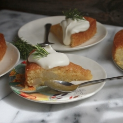 Pear Cornmeal Cake with Rosemary Syrup Recipe