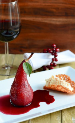 Poached Pears with White Chocolate Cream Recipe