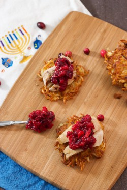 Potato Latkes with Turkey and Cranberry Chutney Recipe