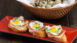 Quail Eggs and Prosciutto Crostini