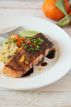 Quinoa Crusted Salmon with Orange Balsamic Reduction Recipe