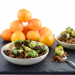 Quinoa w/ Roasted Brussels and Pom