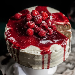 Raspberry Brown Butter Cake with Goat Cheese Buttercream and Raspberry Port Reduction Recipe