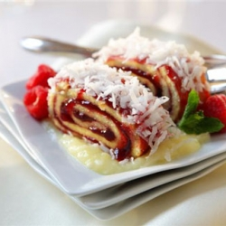 Raspberry Roll with Pina Colada