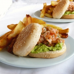 Raw Salmon and Guacamole Burger