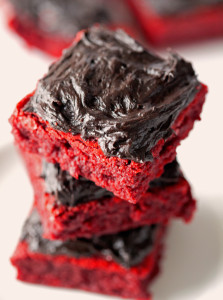Red Velvet Brownies with Chocolate Lovers Frosting