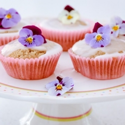 Rhubarb Fairy Cakes with Pansies