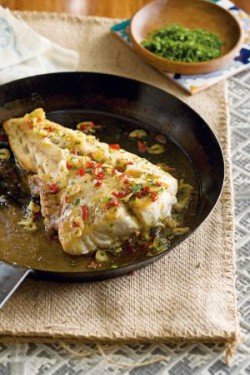 Roast cod w/garlic