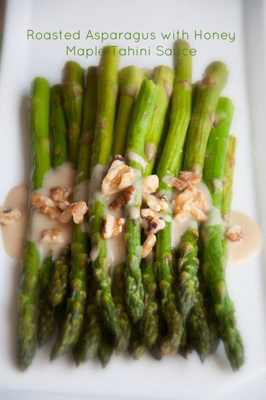 Roasted Asparagus with Honey Maple Tahini Sauce Recipe