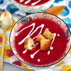 Roasted Beet and Yam Soup with Garlic Croutons Recipe