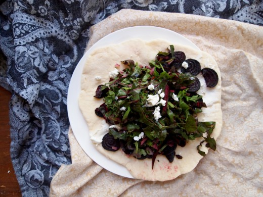 Roasted Beet Goat Cheese and Green Wrap Recipe